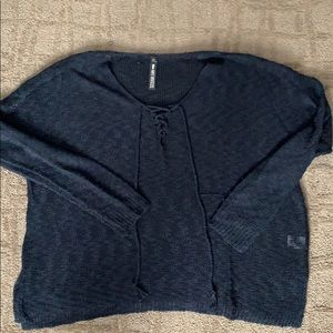 NWOT Design lab navy blue, lace up sweater, Size L
